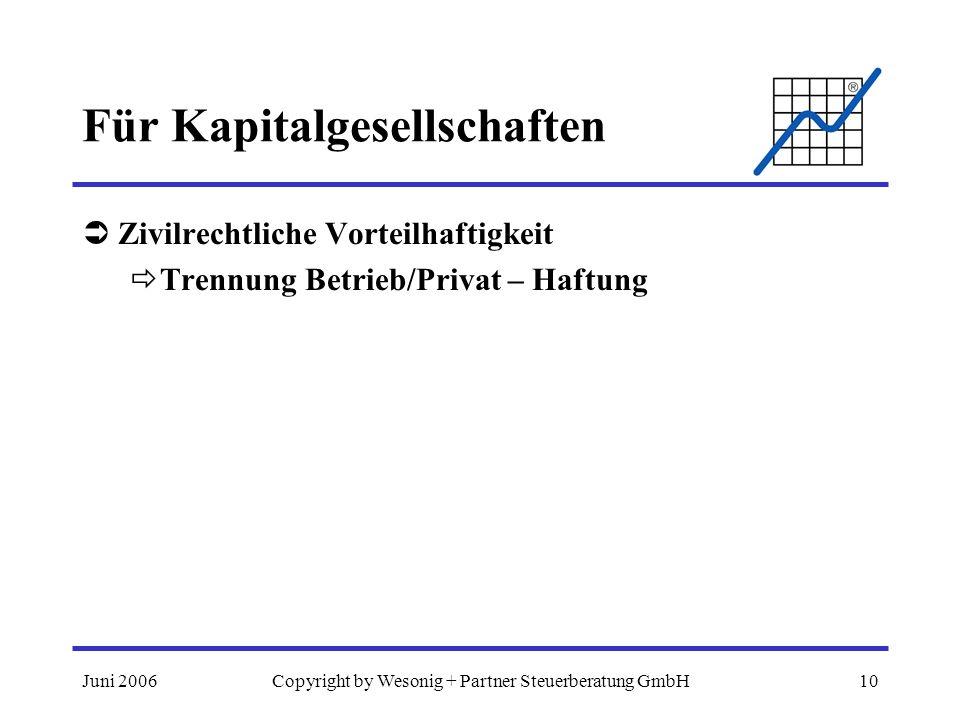 Juni 2006Copyright by Wesonig + Partner Steuerberatung GmbH10 Für Kapitalgesellschaften Zivilrechtliche Vorteilhaftigkeit Trennung Betrieb/Privat – Ha