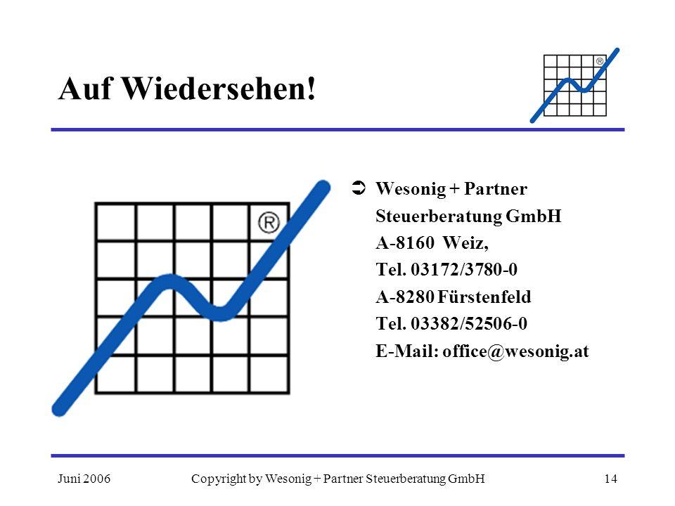 Juni 2006Copyright by Wesonig + Partner Steuerberatung GmbH14 Auf Wiedersehen! Wesonig + Partner Steuerberatung GmbH A-8160 Weiz, Tel. 03172/3780-0 A-