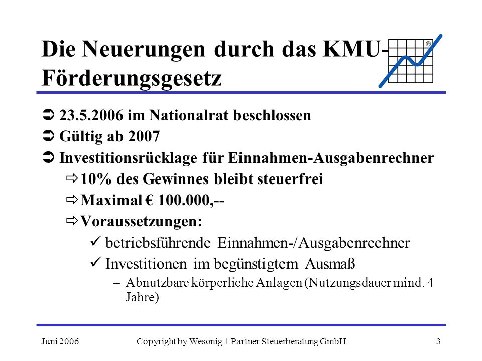 Juni 2006Copyright by Wesonig + Partner Steuerberatung GmbH4 Die Neuerungen durch das KMU- Förderungsgesetz –Wertpapiere (Anleihen und Anleihenfonds), wenn mehr als 4 Jahre behalten –Nicht begünstigt: Gebäude, Pkw/Kombi, gebrauchte Anlagen Tipp: Investitionen allenfalls auf 07 aufschieben Verlustvortrag für Einnahmen-/Ausgabenrechner bisher: Anlaufverluste der ersten 3 Jahre unbegrenzt vortragsfähig Neu: Verluste der letzten 3 Jahre abzugsfähig Tipp: Anlaufverluste aus 2003 und vorher 2006 verbrauchen!