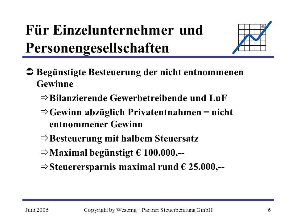 Juni 2006Copyright by Wesonig + Partner Steuerberatung GmbH6 Für Einzelunternehmer und Personengesellschaften Begünstigte Besteuerung der nicht entnommenen Gewinne Bilanzierende Gewerbetreibende und LuF Gewinn abzüglich Privatentnahmen = nicht entnommener Gewinn Besteuerung mit halbem Steuersatz Maximal begünstigt 100.000,-- Steuerersparnis maximal rund 25.000,--