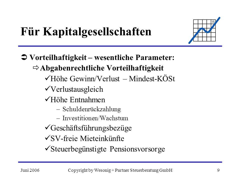 Juni 2006Copyright by Wesonig + Partner Steuerberatung GmbH9 Für Kapitalgesellschaften Vorteilhaftigkeit – wesentliche Parameter: Abgabenrechtliche Vo
