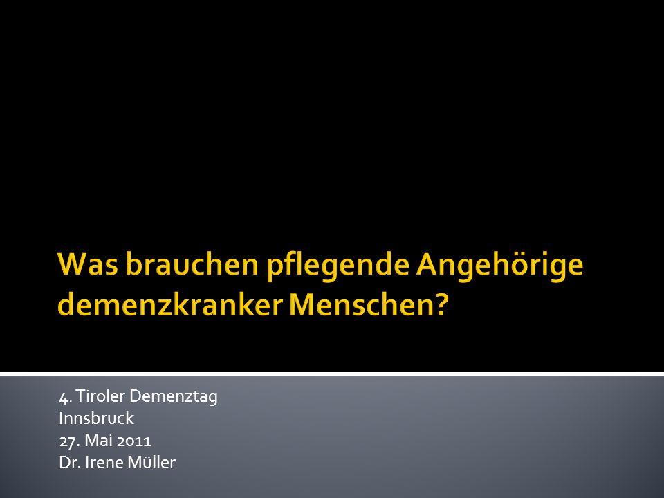 4. Tiroler Demenztag Innsbruck 27. Mai 2011 Dr. Irene Müller