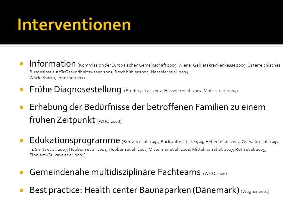 Interventionen Information (Kommission der Europäischen Gemeinschaft 2009, Wiener Gebietskrankenkasse 2009, Österreichisches Bundesinstitut für Gesundheitswesen 2005, Brechbühler 2004, Hasseler et al.