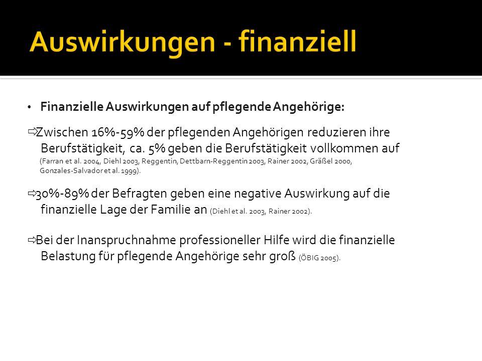Auswirkungen - finanziell Finanzielle Auswirkungen auf pflegende Angehörige: Zwischen 16%-59% der pflegenden Angehörigen reduzieren ihre Berufstätigkeit, ca.