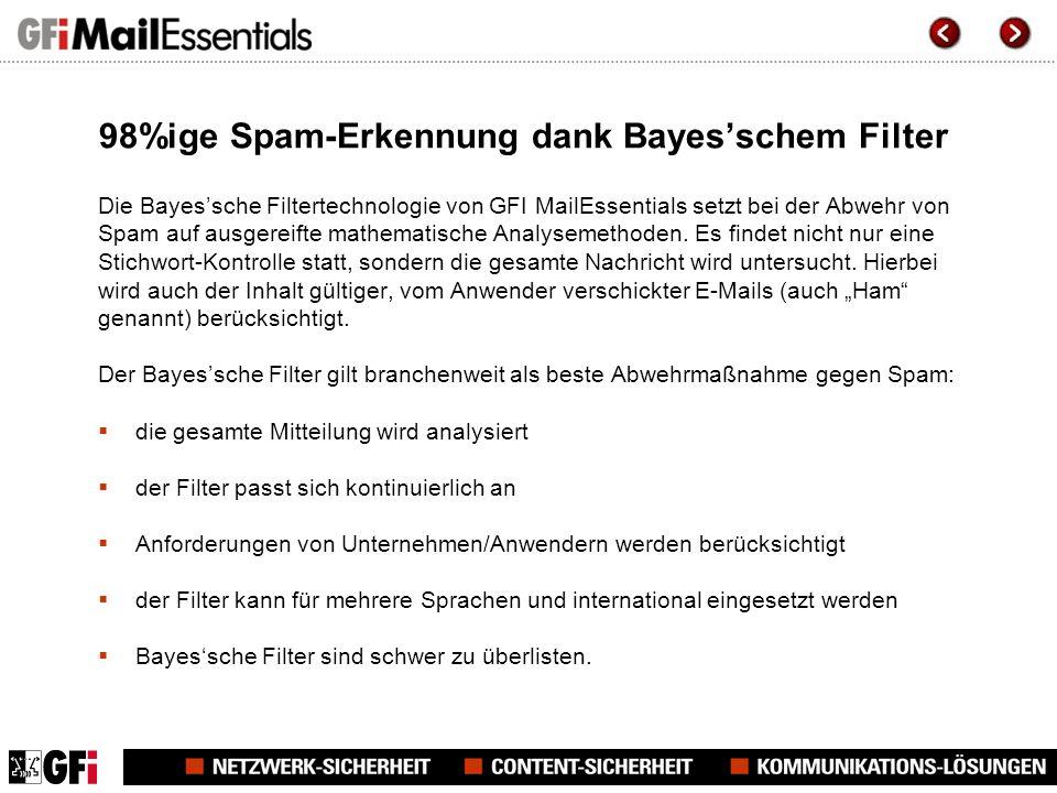 98%ige Spam-Erkennung dank Bayesschem Filter Die Bayessche Filtertechnologie von GFI MailEssentials setzt bei der Abwehr von Spam auf ausgereifte mathematische Analysemethoden.