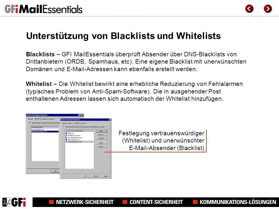 Unterstützung von Blacklists und Whitelists Blacklists – GFI MailEssentials überprüft Absender über DNS-Blacklists von Drittanbietern (ORDB, Spamhaus, etc).