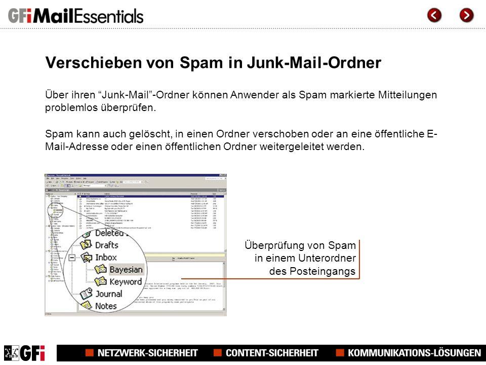 Verschieben von Spam in Junk-Mail-Ordner Über ihren Junk-Mail-Ordner können Anwender als Spam markierte Mitteilungen problemlos überprüfen.