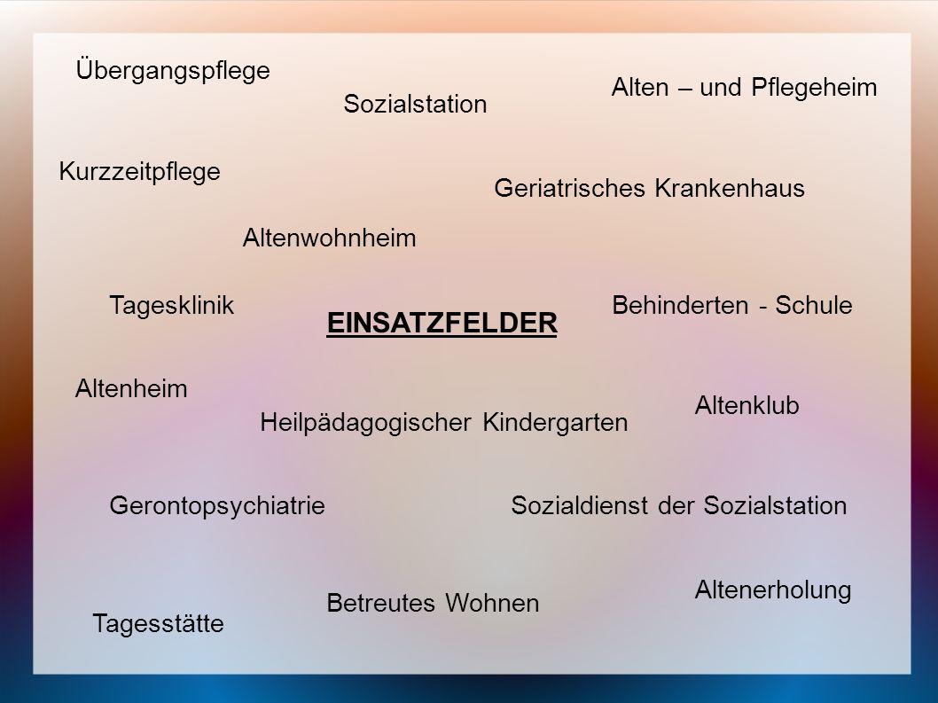 EINSATZFELDER Übergangspflege Alten – und Pflegeheim Heilpädagogischer Kindergarten Sozialstation Kurzzeitpflege Behinderten - Schule Altenerholung Ta