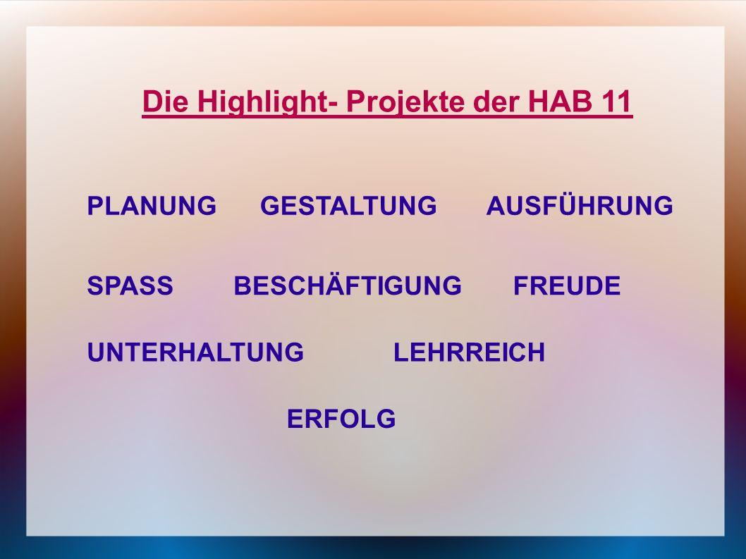 Die Highlight- Projekte der HAB 11 PLANUNGGESTALTUNG UNTERHALTUNG SPASSFREUDE LEHRREICH AUSFÜHRUNG ERFOLG BESCHÄFTIGUNG