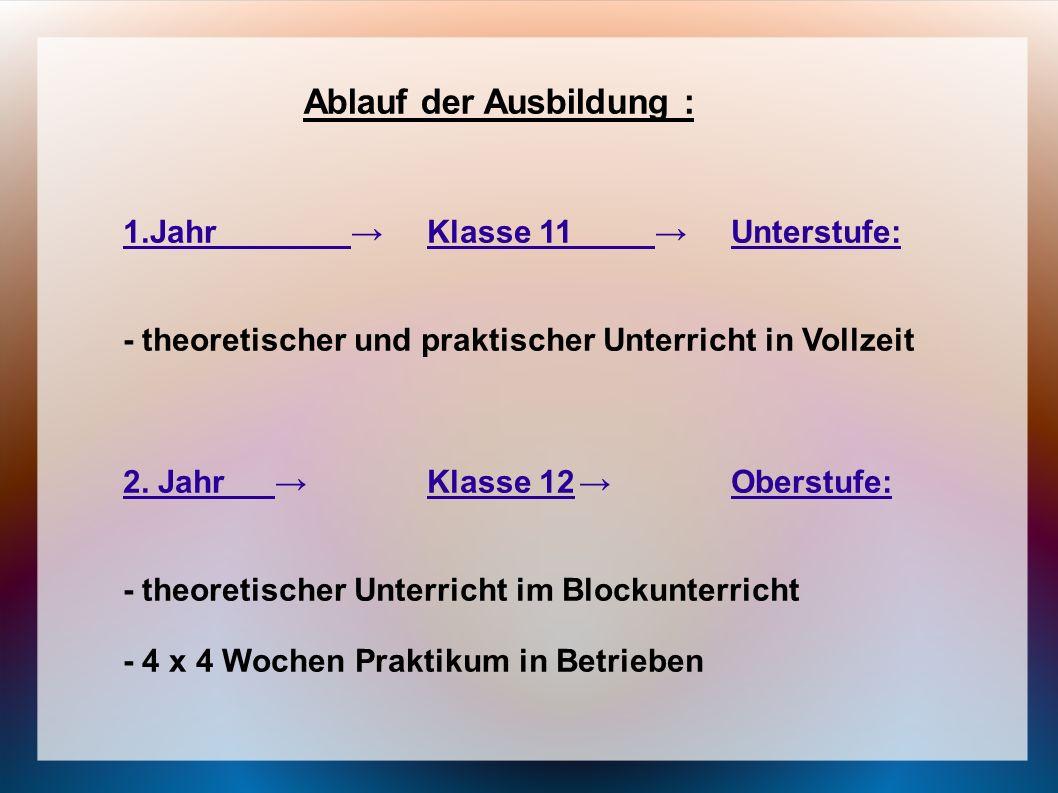 Ablauf der Ausbildung : 1.JahrKlasse 11Unterstufe: - theoretischer und praktischer Unterricht in Vollzeit 2. JahrKlasse 12Oberstufe: - theoretischer U