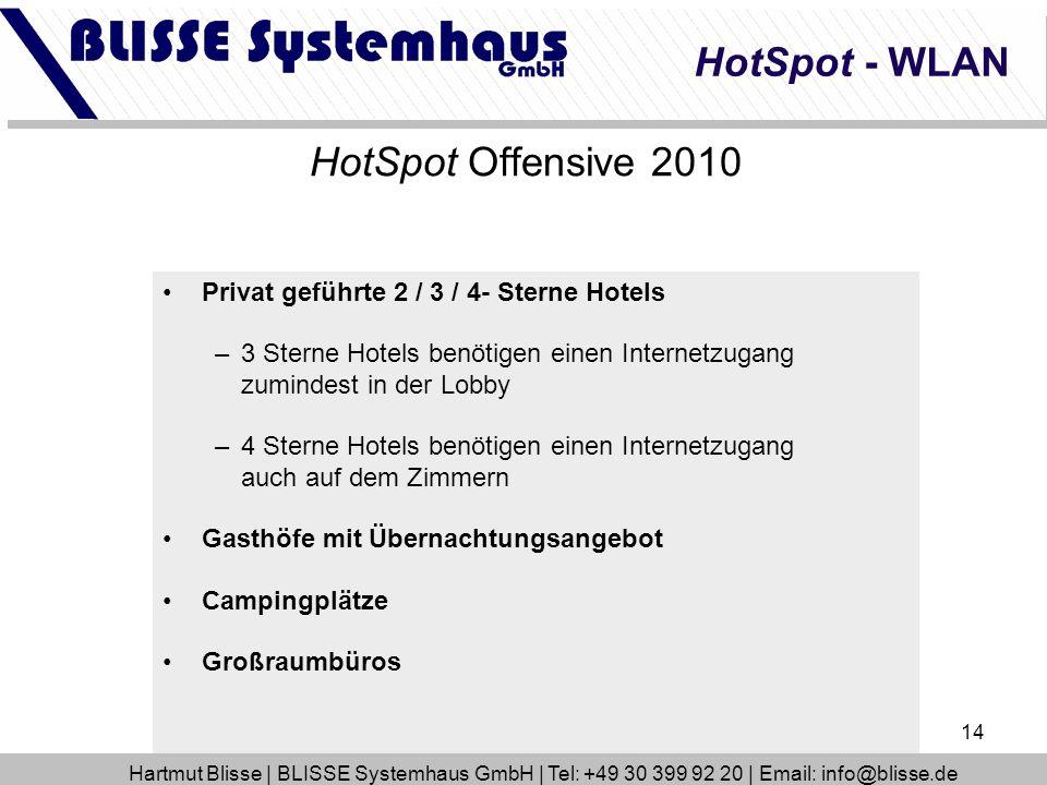 14 HotSpot Offensive 2010 Privat geführte 2 / 3 / 4- Sterne Hotels –3 Sterne Hotels benötigen einen Internetzugang zumindest in der Lobby –4 Sterne Ho