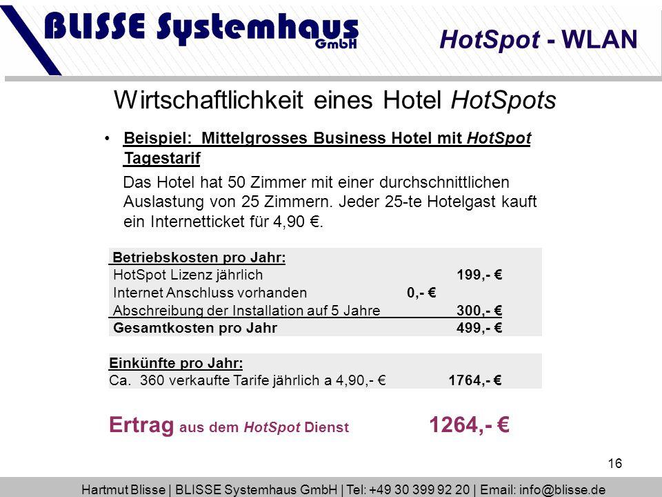 16 HotSpot - WLAN Wirtschaftlichkeit eines Hotel HotSpots Beispiel: Mittelgrosses Business Hotel mit HotSpot Tagestarif Das Hotel hat 50 Zimmer mit ei