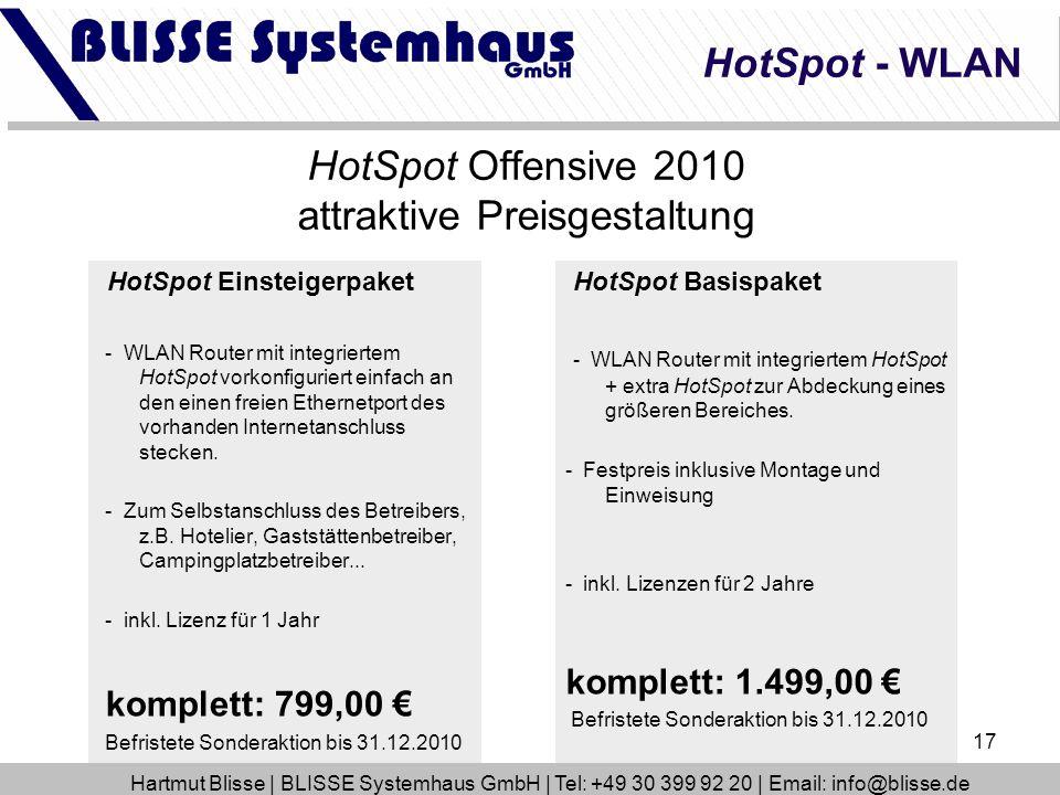 17 HotSpot Basispaket - WLAN Router mit integriertem HotSpot + extra HotSpot zur Abdeckung eines größeren Bereiches. - Festpreis inklusive Montage und