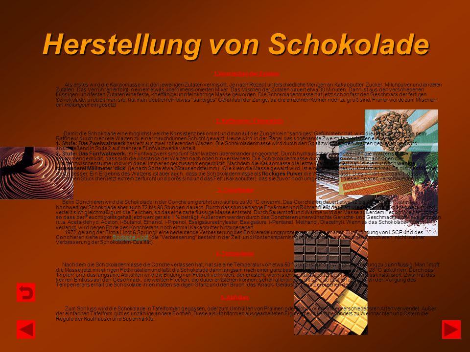 Herstellung von Schokolade 1.Vermischen der Zutaten Als erstes wird die Kakaomasse mit den jeweiligen Zutaten vermischt. Je nach Rezept unterschiedlic