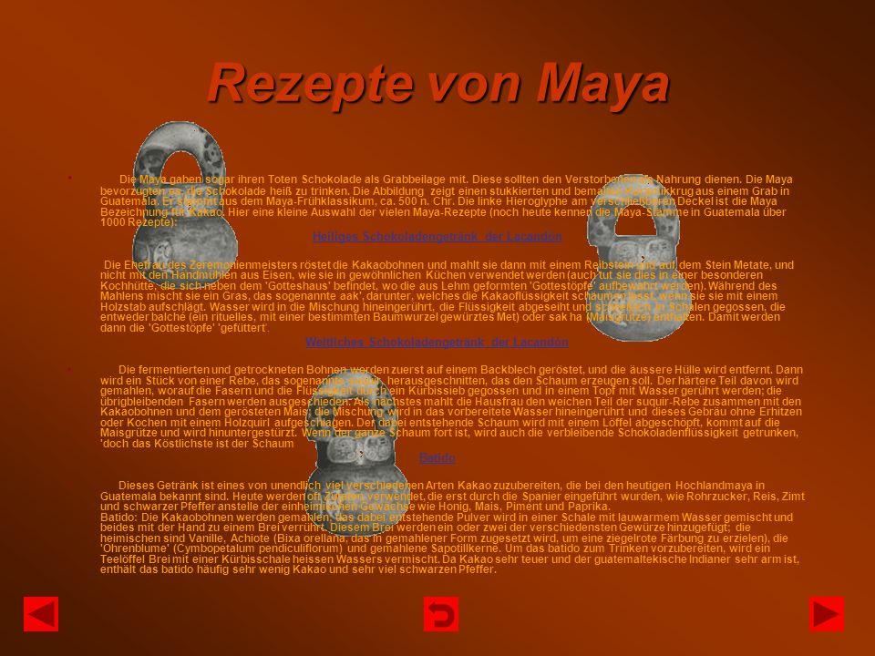 Rezepte von Maya Die Maya gaben sogar ihren Toten Schokolade als Grabbeilage mit. Diese sollten den Verstorbenen als Nahrung dienen. Die Maya bevorzug