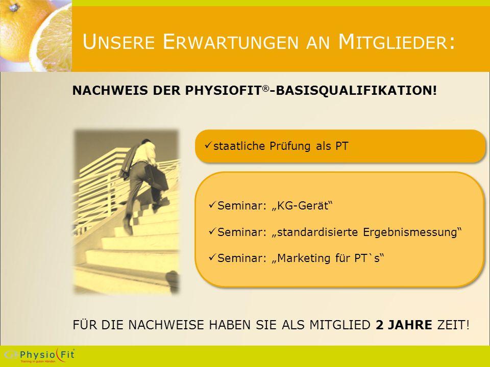 U NSERE E RWARTUNGEN AN M ITGLIEDER : NACHWEIS DER PHYSIOFIT ® -BASISQUALIFIKATION.