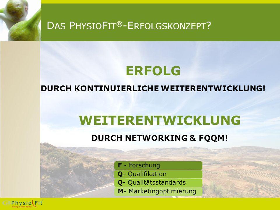 D AS P HYSIO F IT ® -E RFOLGSKONZEPT . ERFOLG DURCH KONTINUIERLICHE WEITERENTWICKLUNG.