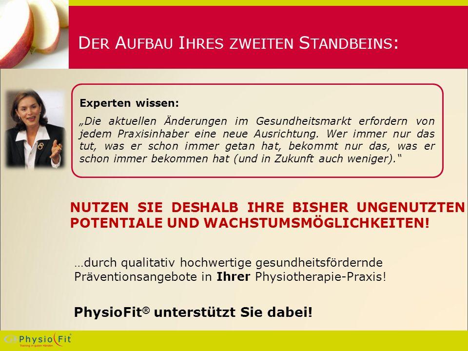 D ER A UFBAU I HRES ZWEITEN S TANDBEINS : …durch qualitativ hochwertige gesundheitsfördernde Präventionsangebote in Ihrer Physiotherapie-Praxis.