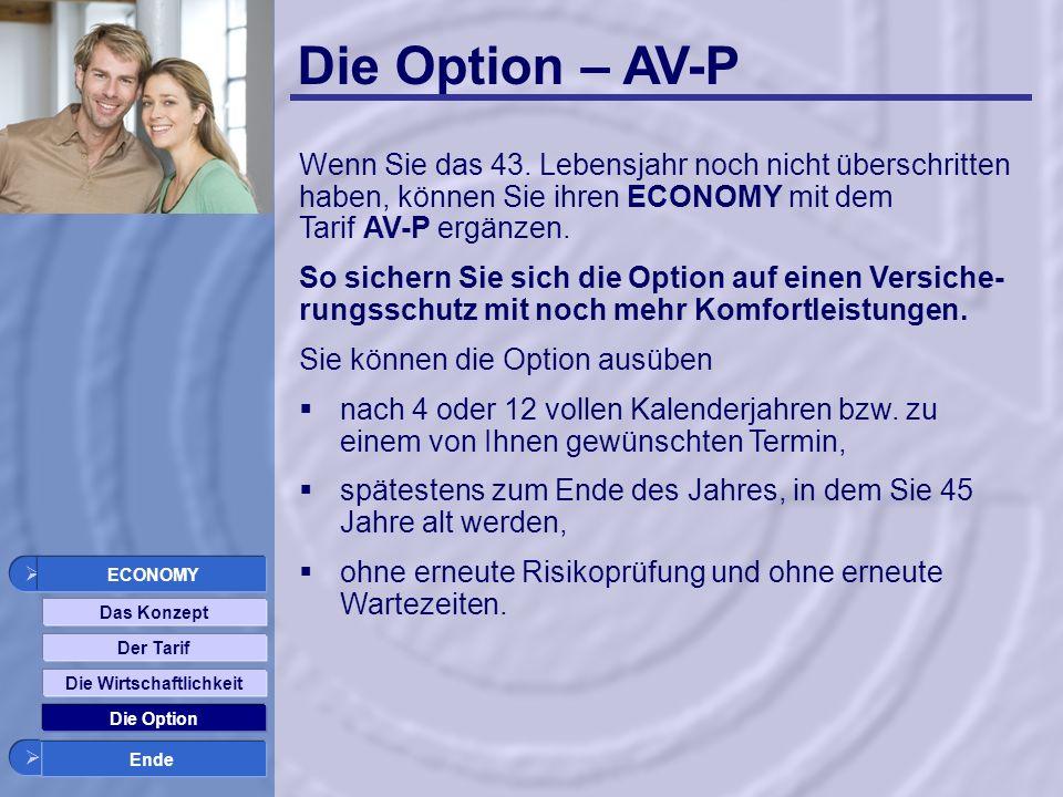 Die Option – AV-P Das Konzept Der Tarif Die Wirtschaftlichkeit Die Option Ende ECONOMY Wenn Sie das 43.