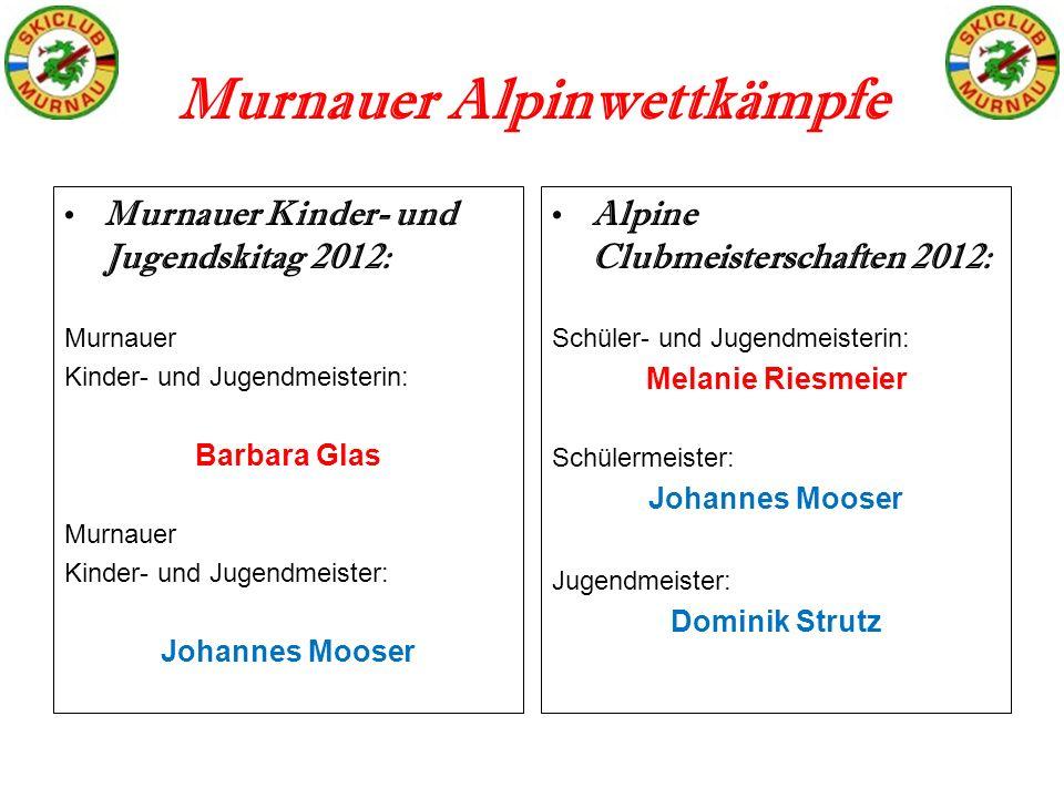 Murnauer Alpinwettkämpfe Murnauer Kinder- und Jugendskitag 2012: Murnauer Kinder- und Jugendmeisterin: Barbara Glas Murnauer Kinder- und Jugendmeister