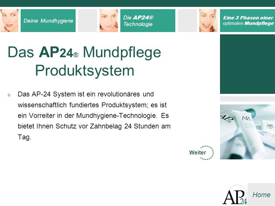 Deine Mundhygiene Die AP24® Technologie Eine 3 Phasen einer optimalen Mundpflege Home Das AP 24 ® Mundpflege Produktsystem Das AP-24 System ist ein re