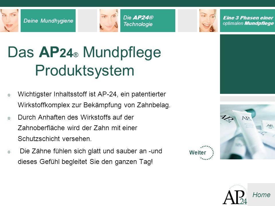 Deine Mundhygiene Die AP24® Technologie Eine 3 Phasen einer optimalen Mundpflege Home Wichtigster Inhaltsstoff ist AP-24, ein patentierter Wirkstoffko