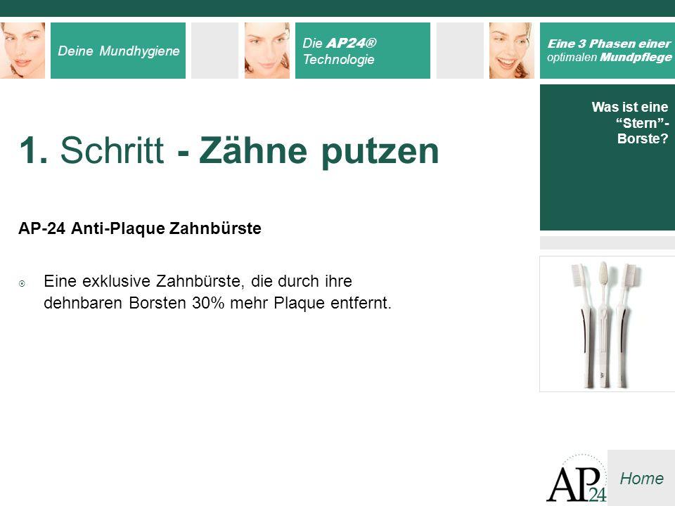 Deine Mundhygiene Die AP24® Technologie Eine 3 Phasen einer optimalen Mundpflege Home 1. Schritt - Zähne putzen AP-24 Anti-Plaque Zahnbürste Eine exkl