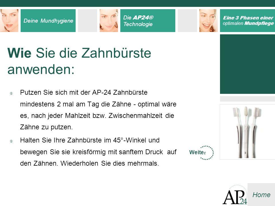 Deine Mundhygiene Die AP24® Technologie Eine 3 Phasen einer optimalen Mundpflege Home Wie Sie die Zahnbürste anwenden: Putzen Sie sich mit der AP-24 Z