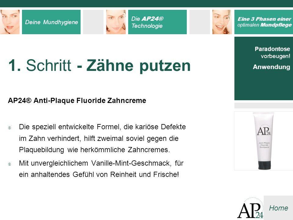 Deine Mundhygiene Die AP24® Technologie Eine 3 Phasen einer optimalen Mundpflege Home 1. Schritt - Zähne putzen AP24® Anti-Plaque Fluoride Zahncreme D