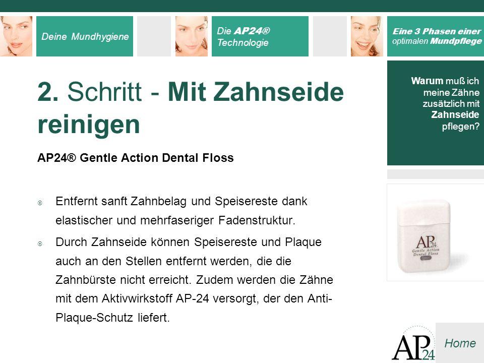 Deine Mundhygiene Die AP24® Technologie Eine 3 Phasen einer optimalen Mundpflege Home Warum muß ich meine Zähne zusätzlich mit Zahnseide pflegen? 2. S