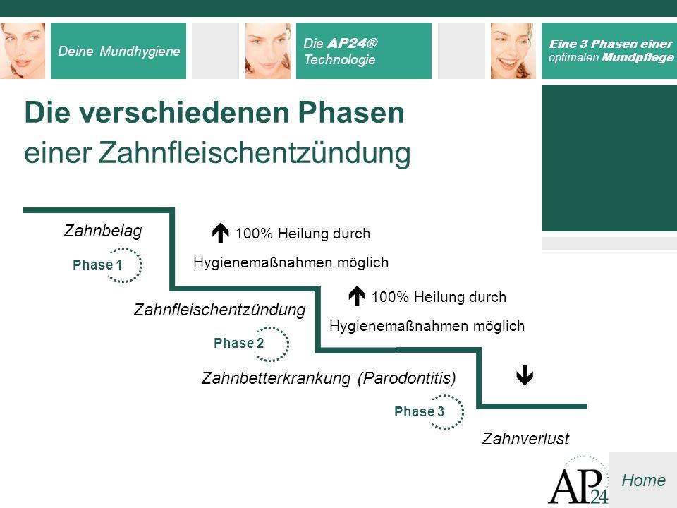 Deine Mundhygiene Die AP24® Technologie Eine 3 Phasen einer optimalen Mundpflege Home Die verschiedenen Phasen einer Zahnfleischentzündung Zahnbelag Z