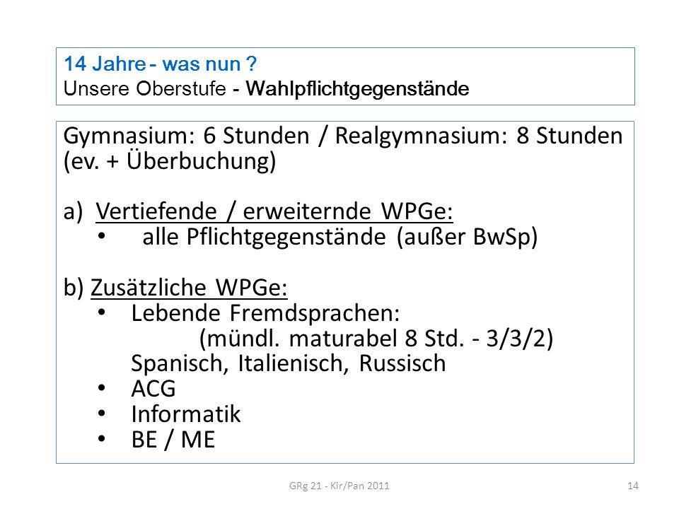 14 Jahre - was nun ? Unsere Oberstufe - Wahlpflichtgegenstände GRg 21 - Kir/Pan 201114 Gymnasium: 6 Stunden / Realgymnasium: 8 Stunden (ev. + Überbuch