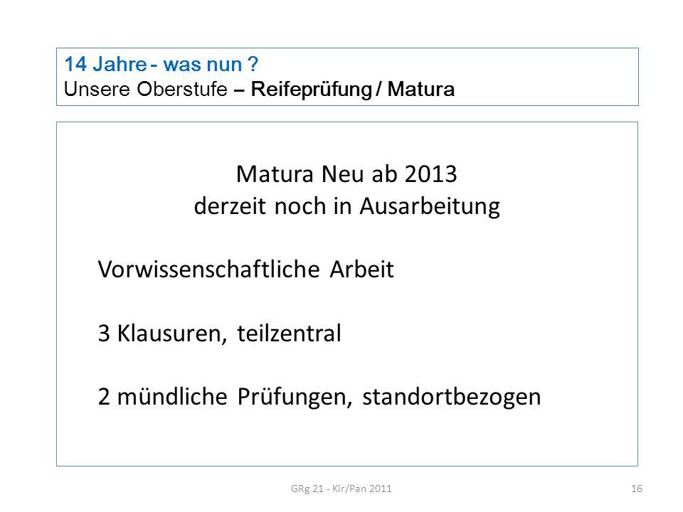 14 Jahre - was nun ? Unsere Oberstufe – Reifeprüfung / Matura GRg 21 - Kir/Pan 201116 Matura Neu ab 2013 derzeit noch in Ausarbeitung Vorwissenschaftl