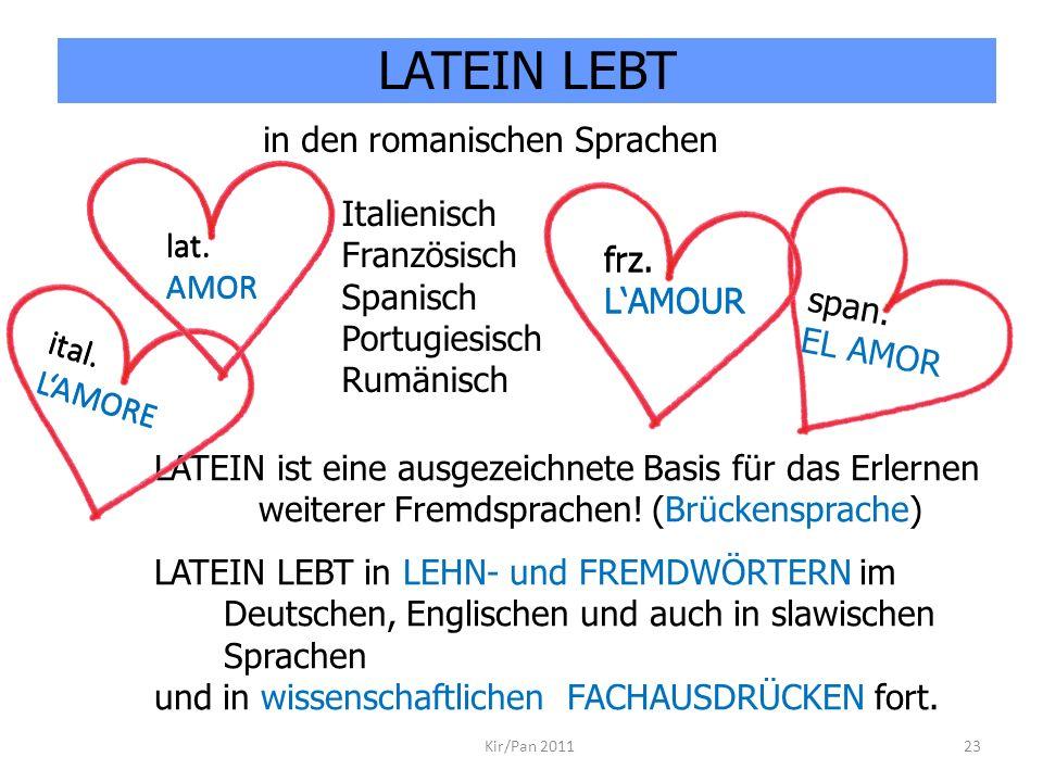 ital. LAMORE Kir/Pan 201123 Italienisch Französisch Spanisch Portugiesisch Rumänisch LATEIN ist eine ausgezeichnete Basis für das Erlernen weiterer Fr