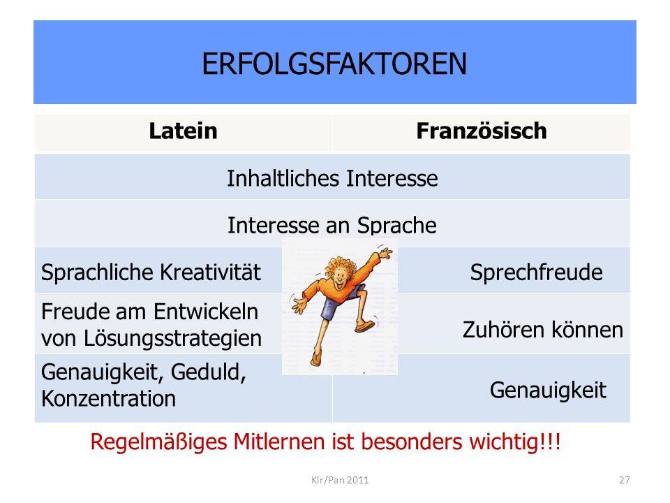 ERFOLGSFAKTOREN Kir/Pan 201127 LateinFranzösisch Inhaltliches Interesse Interesse an Sprache Sprachliche KreativitätSprechfreude Freude am Entwickeln