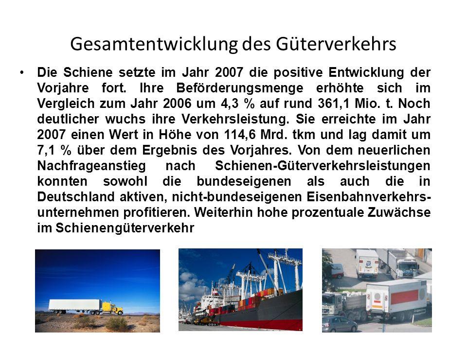 Gesamtentwicklung des Güterverkehrs Die Schiene setzte im Jahr 2007 die positive Entwicklung der Vorjahre fort. Ihre Beförderungsmenge erhöhte sich im