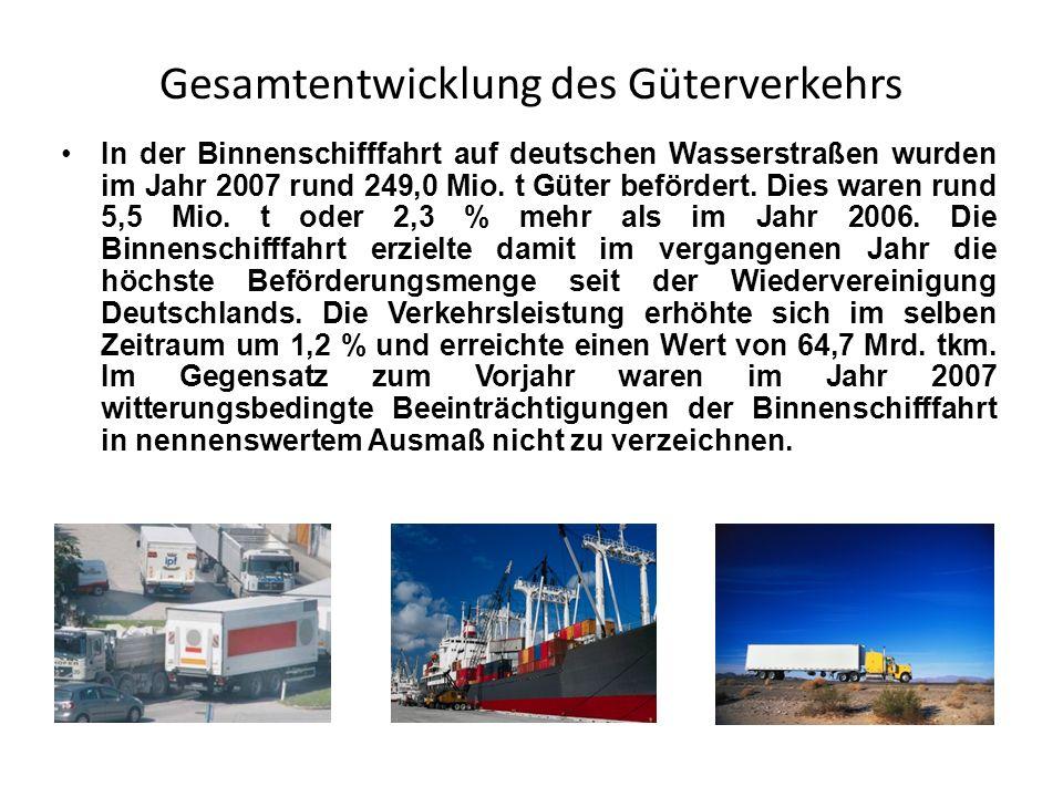 Gesamtentwicklung des Güterverkehrs In der Binnenschifffahrt auf deutschen Wasserstraßen wurden im Jahr 2007 rund 249,0 Mio. t Güter befördert. Dies w