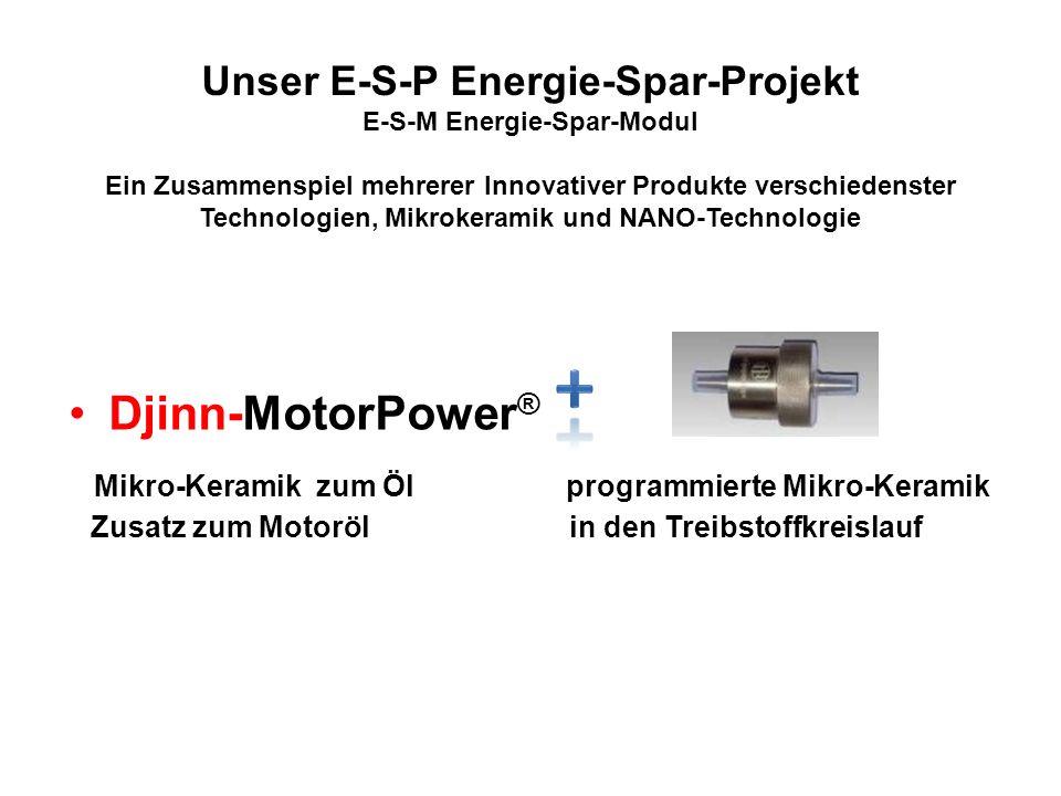 Unser E-S-P Energie-Spar-Projekt E-S-M Energie-Spar-Modul Ein Zusammenspiel mehrerer Innovativer Produkte verschiedenster Technologien, Mikrokeramik u
