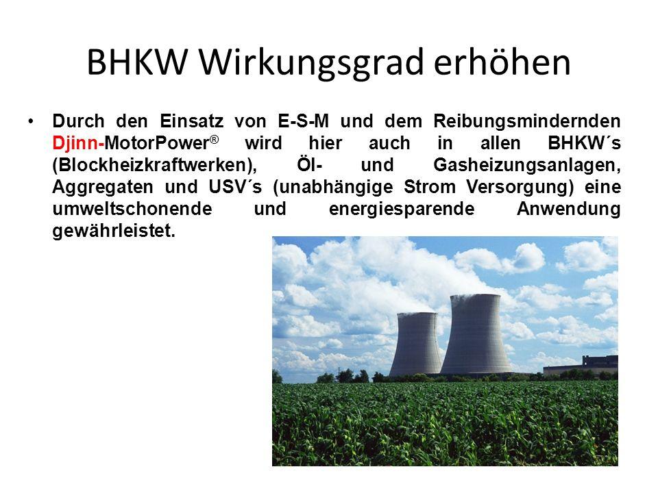BHKW Wirkungsgrad erhöhen Durch den Einsatz von E-S-M und dem Reibungsmindernden Djinn-MotorPower ® wird hier auch in allen BHKW´s (Blockheizkraftwerk