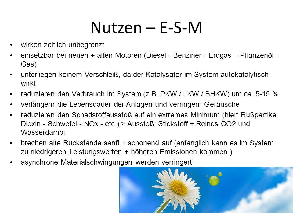 Nutzen – E-S-M wirken zeitlich unbegrenzt einsetzbar bei neuen + alten Motoren (Diesel - Benziner - Erdgas – Pflanzenöl - Gas) unterliegen keinem Vers