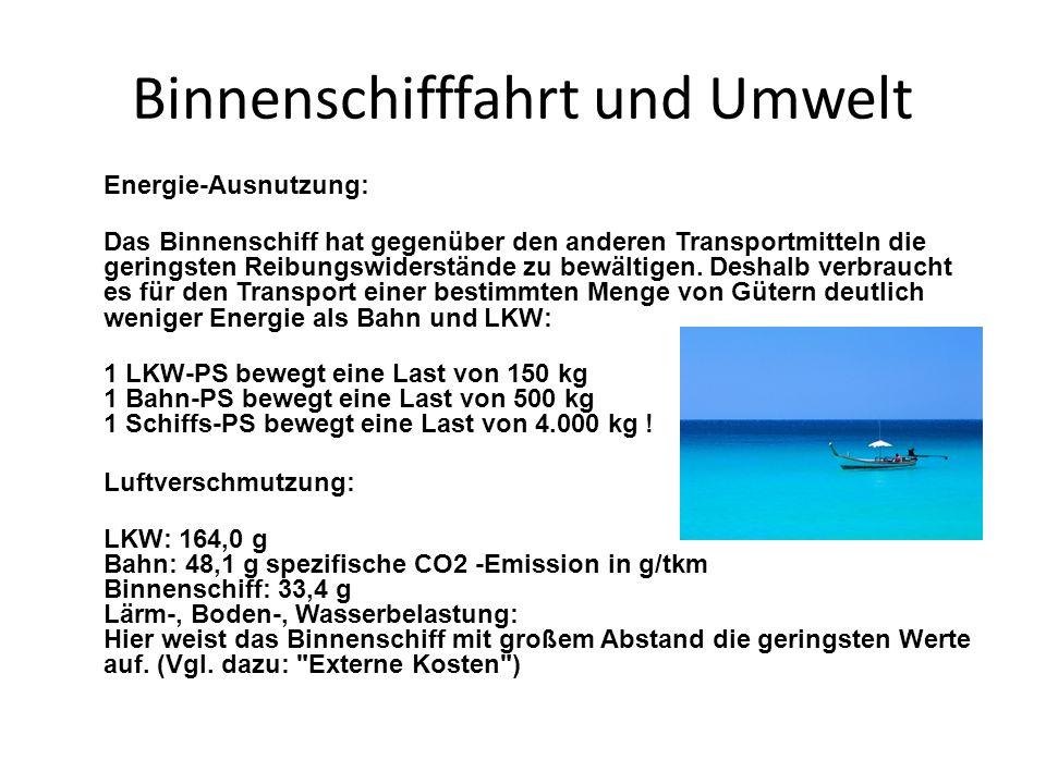 Binnenschifffahrt und Umwelt Energie-Ausnutzung: Das Binnenschiff hat gegenüber den anderen Transportmitteln die geringsten Reibungswiderstände zu bew