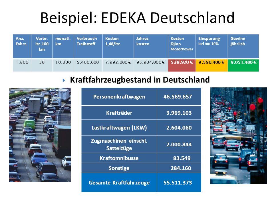 Beispiel: EDEKA Deutschland Anz. Fahrz. Verbr. ltr. 100 km monatl. km Verbrauch Treibstoff Kosten 1,48/ltr. Jahres kosten Kosten Djinn MotorPower Eins