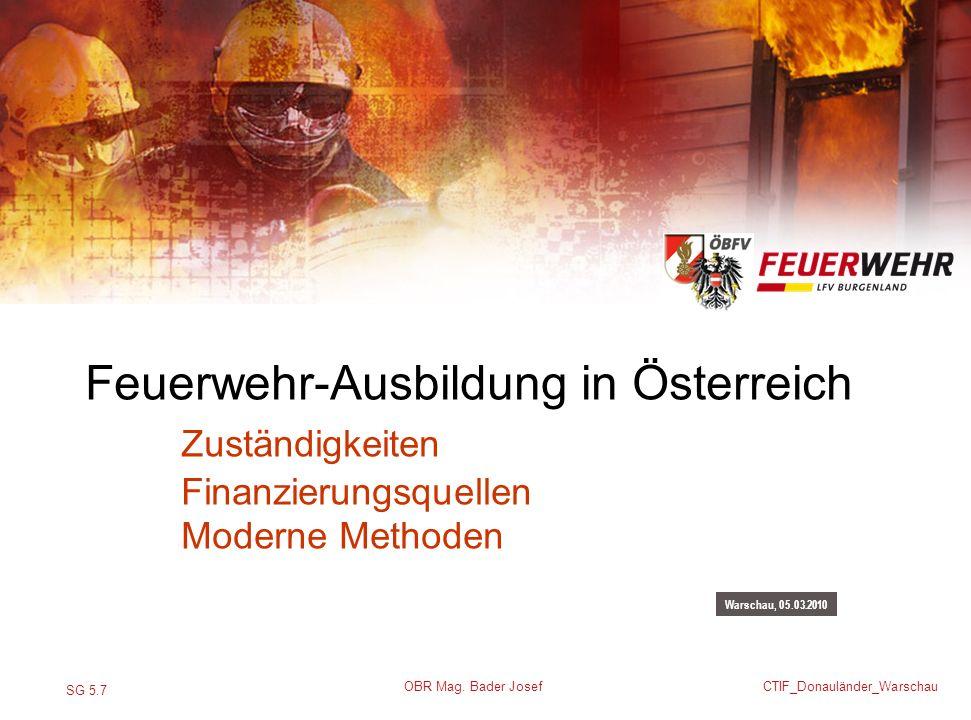 SG 5.7 CTIF_Donauländer_Warschau OBR Mag. Bader Josef Warschau, 05.03.2010 Feuerwehr-Ausbildung in Österreich Zuständigkeiten Finanzierungsquellen Mod
