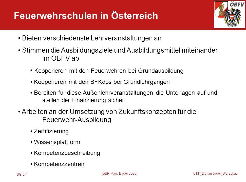 SG 5.7 CTIF_Donauländer_Warschau OBR Mag. Bader Josef Feuerwehrschulen in Österreich.. Bieten verschiedenste Lehrveranstaltungen an Stimmen die Ausbil