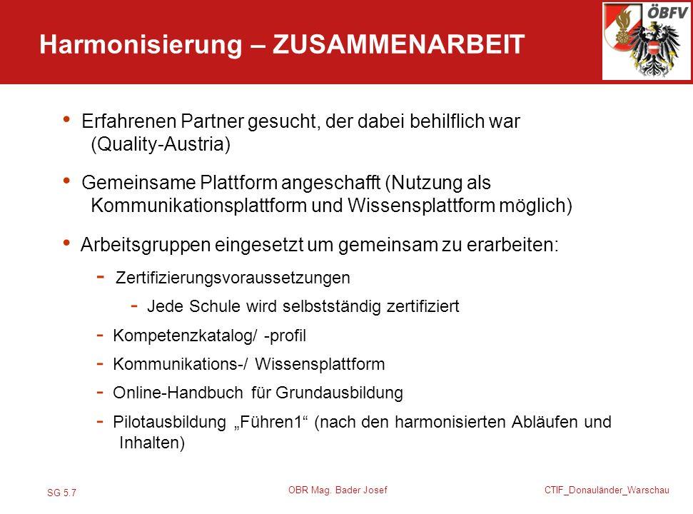 SG 5.7 CTIF_Donauländer_Warschau OBR Mag. Bader Josef Erfahrenen Partner gesucht, der dabei behilflich war (Quality-Austria) Gemeinsame Plattform ange