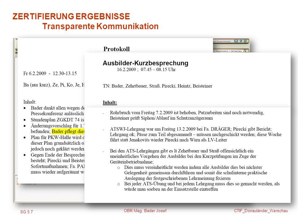 SG 5.7 CTIF_Donauländer_Warschau OBR Mag. Bader Josef ZERTIFIERUNG ERGEBNISSE Transparente Kommunikation