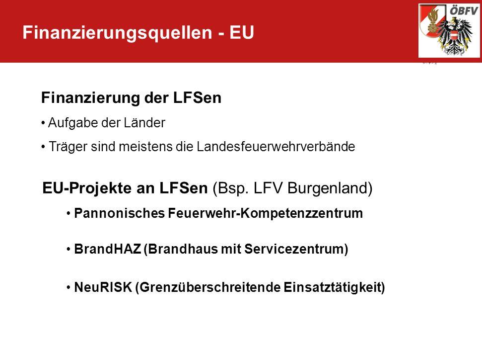 Finanzierungsquellen - EU Finanzierung der LFSen Aufgabe der Länder Träger sind meistens die Landesfeuerwehrverbände EU-Projekte an LFSen (Bsp. LFV Bu