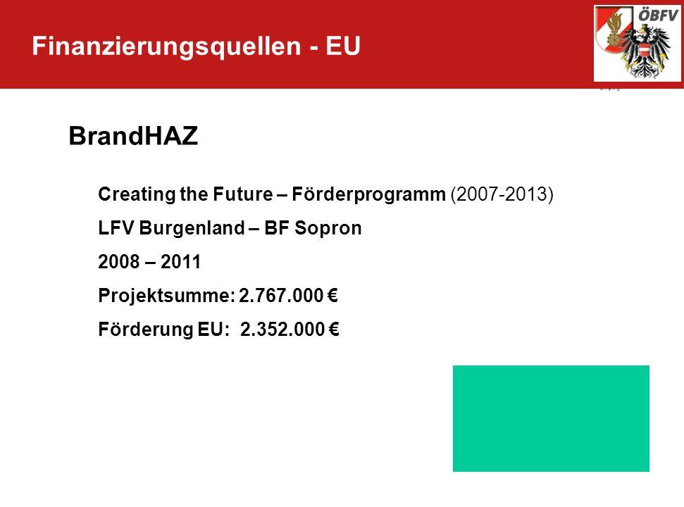 Finanzierungsquellen - EU BrandHAZ Creating the Future – Förderprogramm (2007-2013) LFV Burgenland – BF Sopron 2008 – 2011 Projektsumme: 2.767.000 För