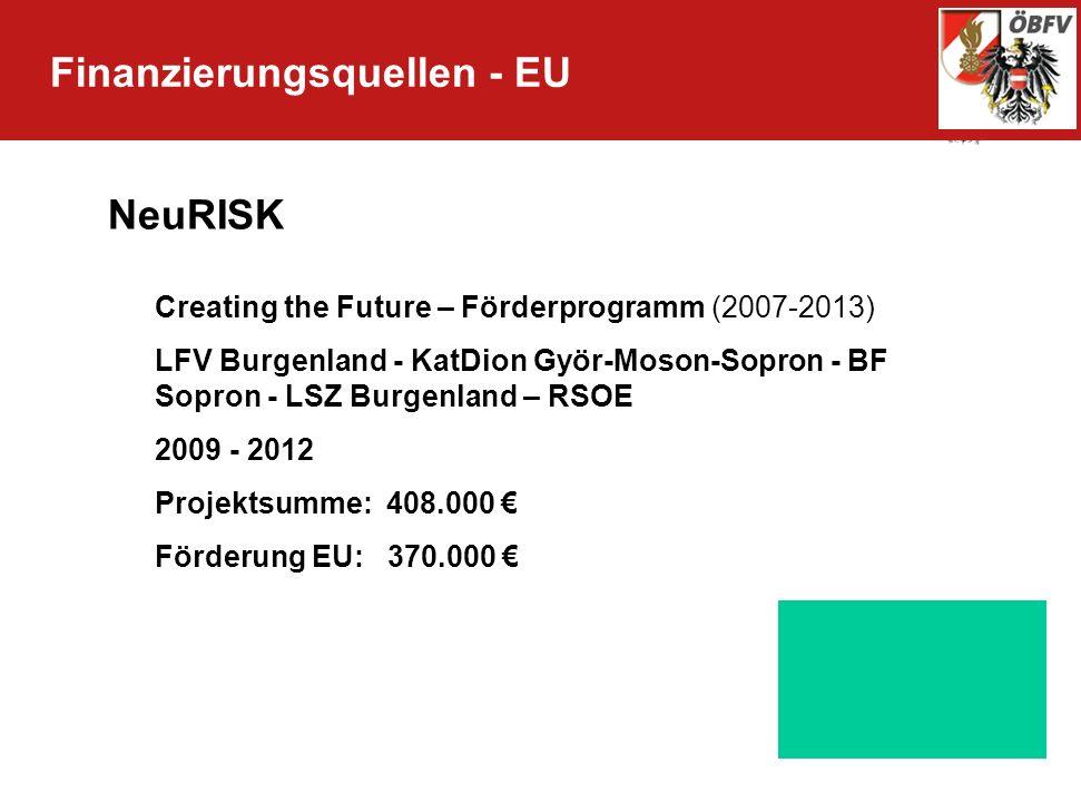 Finanzierungsquellen - EU NeuRISK Creating the Future – Förderprogramm (2007-2013) LFV Burgenland - KatDion Györ-Moson-Sopron - BF Sopron - LSZ Burgen