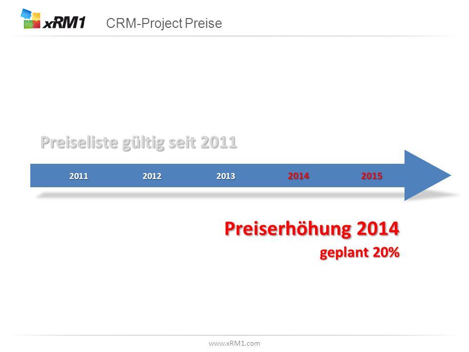 www.xRM1.com CRM-Project Preise Preiseliste gültig seit 2011 Preiserhöhung2014 Preiserhöhung 2014 geplant 20%